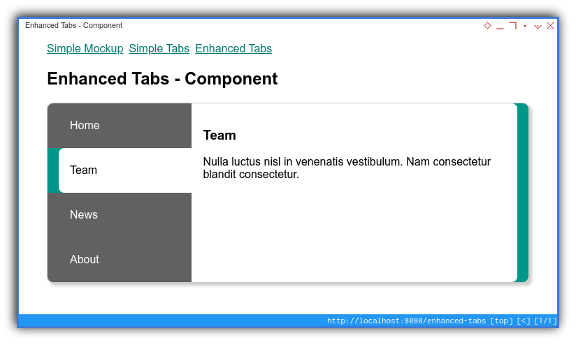 Vue App: Component Preview: Enhanced: Tablet