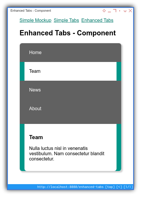 Vue App: Component Preview: Enhanced: Mobile